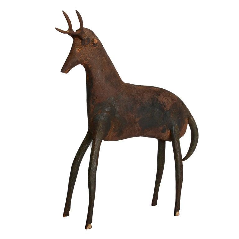 Handcrafted Metal Deer Figure For Sale