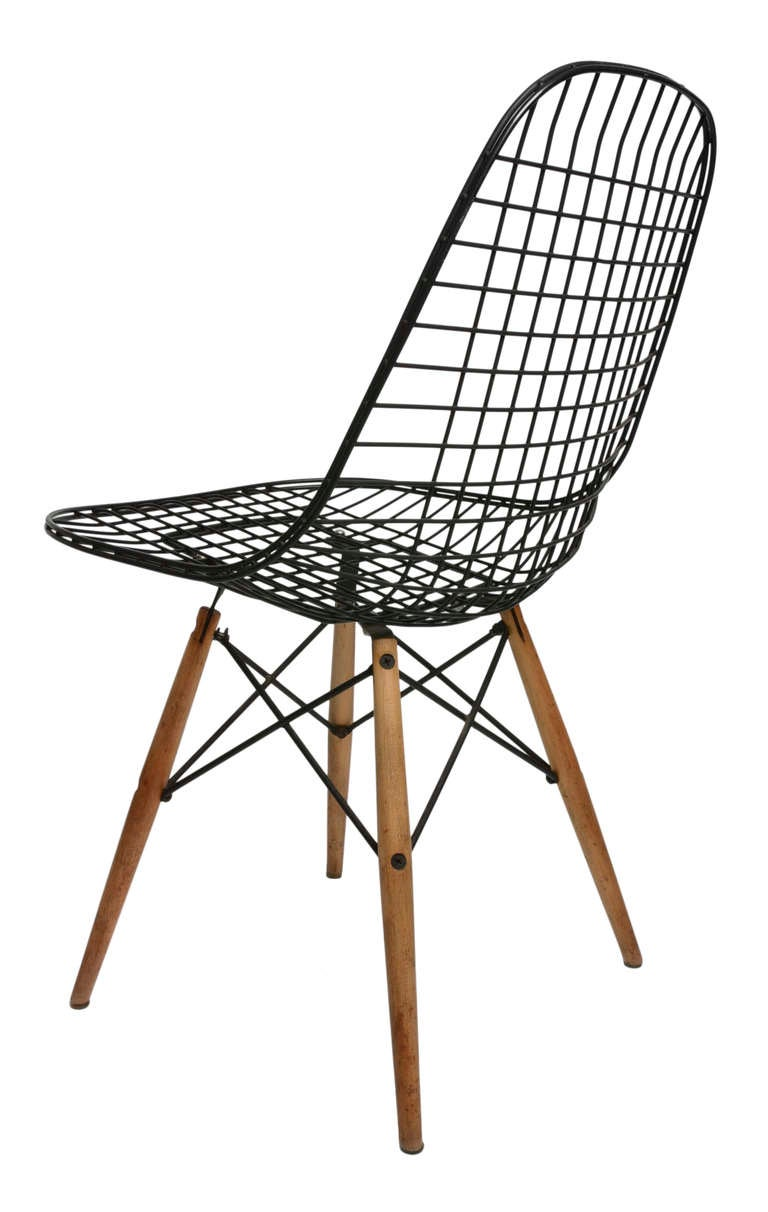 early set of four birch dowel base eames wire chairs at 1stdibs. Black Bedroom Furniture Sets. Home Design Ideas