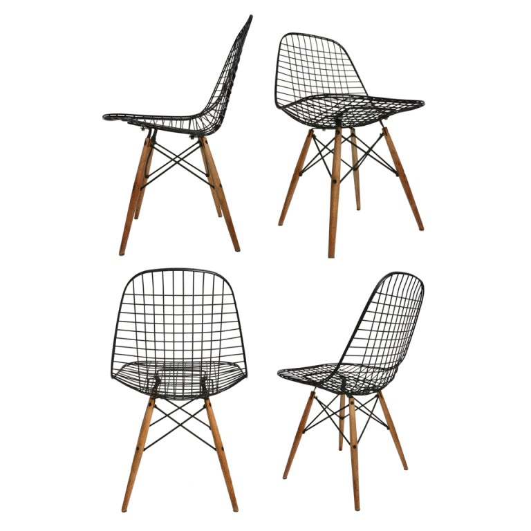 early set of four birch dowel base eames wire chairs at 1stdibs