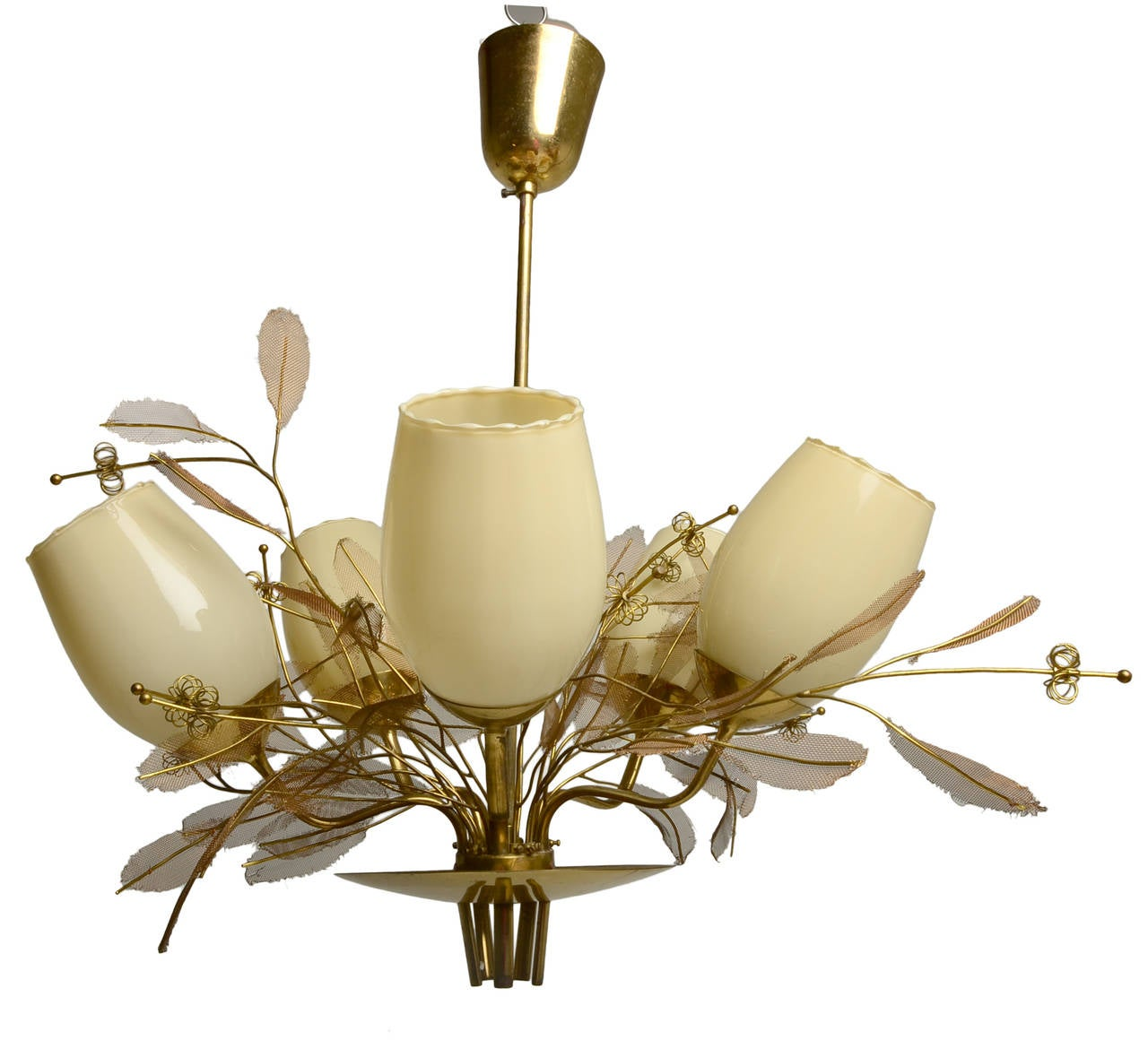 An incredible solid brass five-arm chandelier by Paavo Tynell for Taito Oy. Model 9029/5. An iconic Scandinavian piece by the master of Scandinavian lighting.