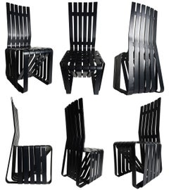 """Set of 6 Frank Gehry """"High Sticking"""" Tall Chairs"""