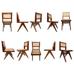 Extraordinary Set of Ten Pierre Jeanneret Armless Dining Chairs