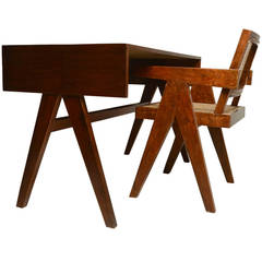 Desk and Chair for Chandigarh by Pierre Jeanneret