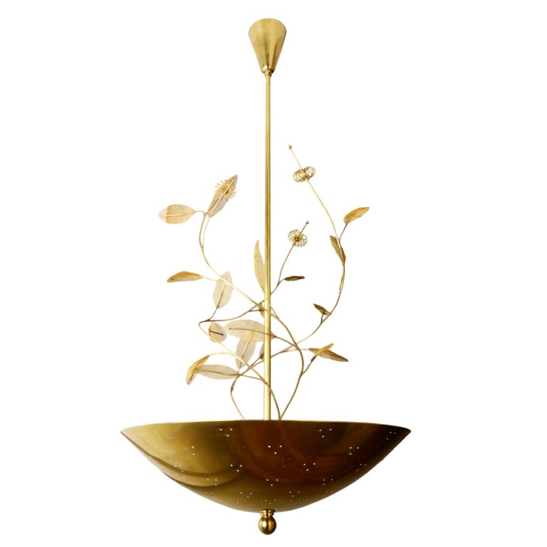 large paavo tynell chandelier with floretes branches and leaves at 1stdibs. Black Bedroom Furniture Sets. Home Design Ideas