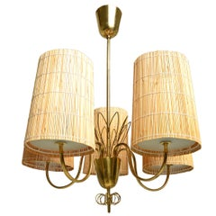 Paavo Tynell Five-Arm Chandelier with Slatted Shades