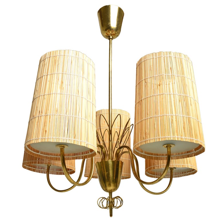 Paavo Tynell Five-Arm Chandelier with Slatted Shades For Sale