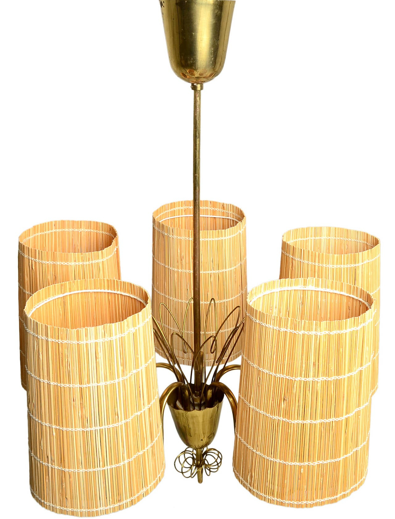 Scandinavian Modern Paavo Tynell Five-Arm Chandelier with Slatted Shades For Sale