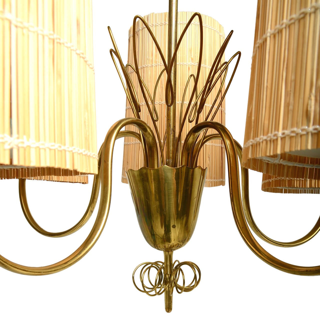 Finnish Paavo Tynell Five-Arm Chandelier with Slatted Shades For Sale