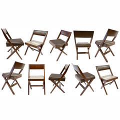 Set of Ten Library Chairs from Chandigarh by Jeanneret *6 on hold * 4 available