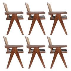 Set of Six Pierre Jeanneret V Leg Armchairs