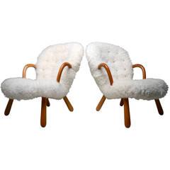 Pair of Phillip Arctander Muslingestol Clam Chairs
