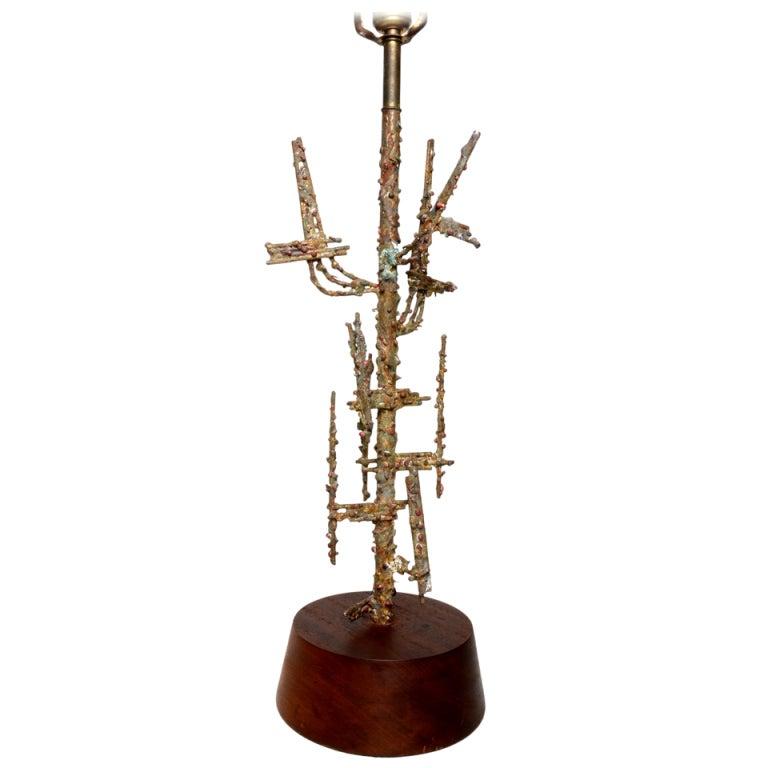 Fantastic Brutalist Fantoni Table Lamp For Raymor