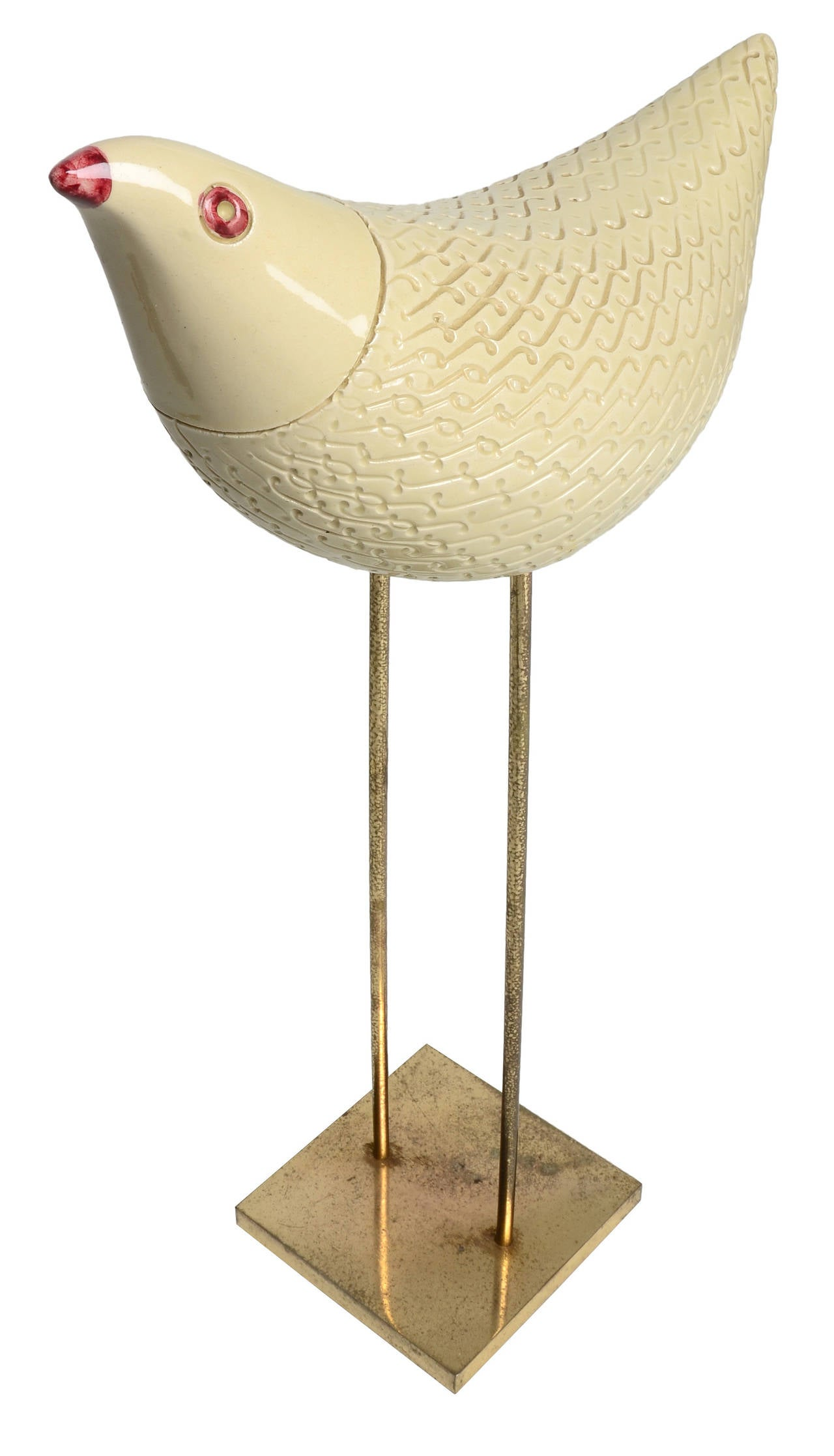 Italian Bitossi Ceramic Bird on Brass Base For Sale