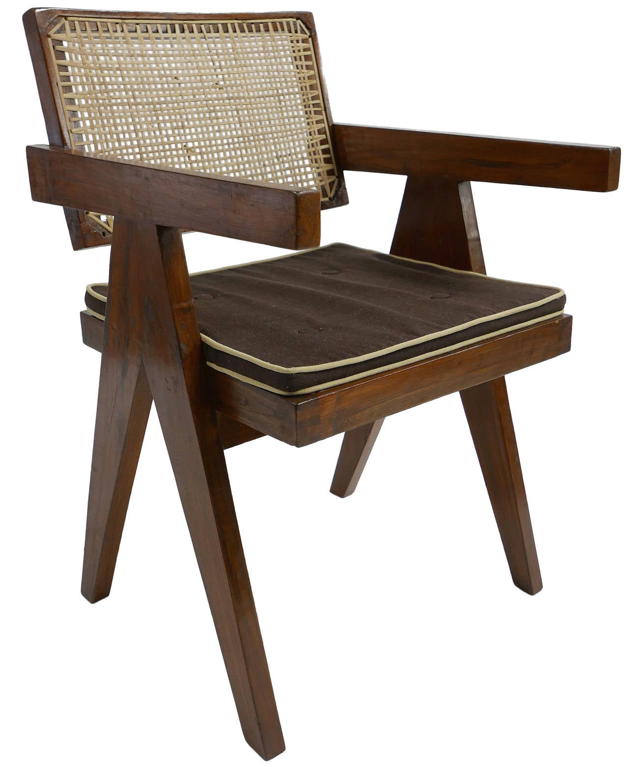 Set of eight jeanneret v leg chairs from chandigarh at stdibs