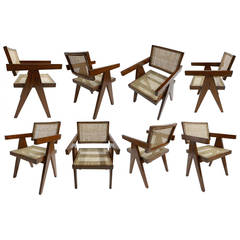 Set of Eight Jeanneret V-Leg Chairs from Chandigarh