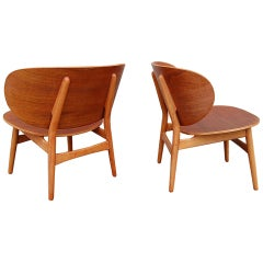 a pair of Hans Wegner shell chairs Fritz Hansen