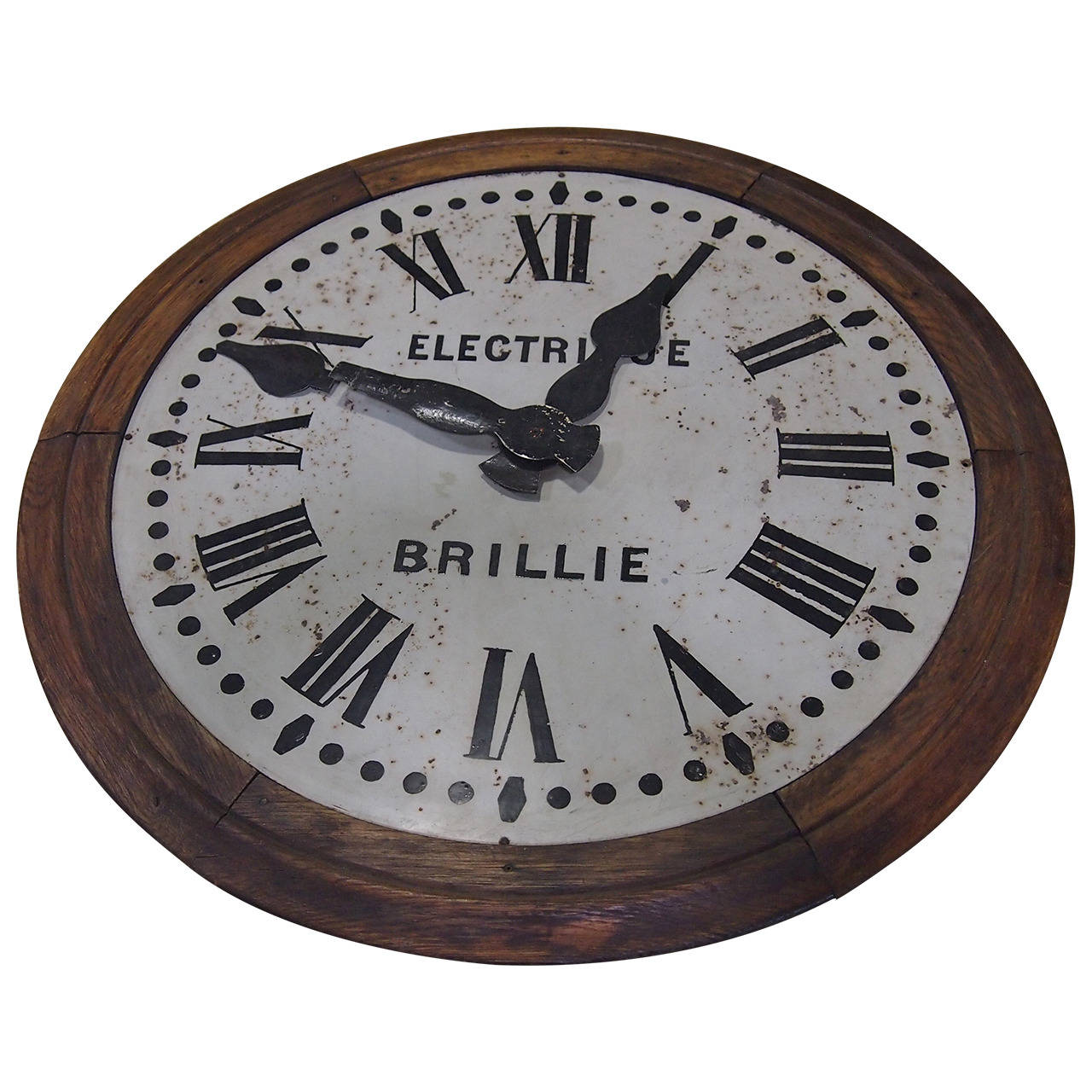 1930's French Brillie Walnut Railroad Station Clock For Sale