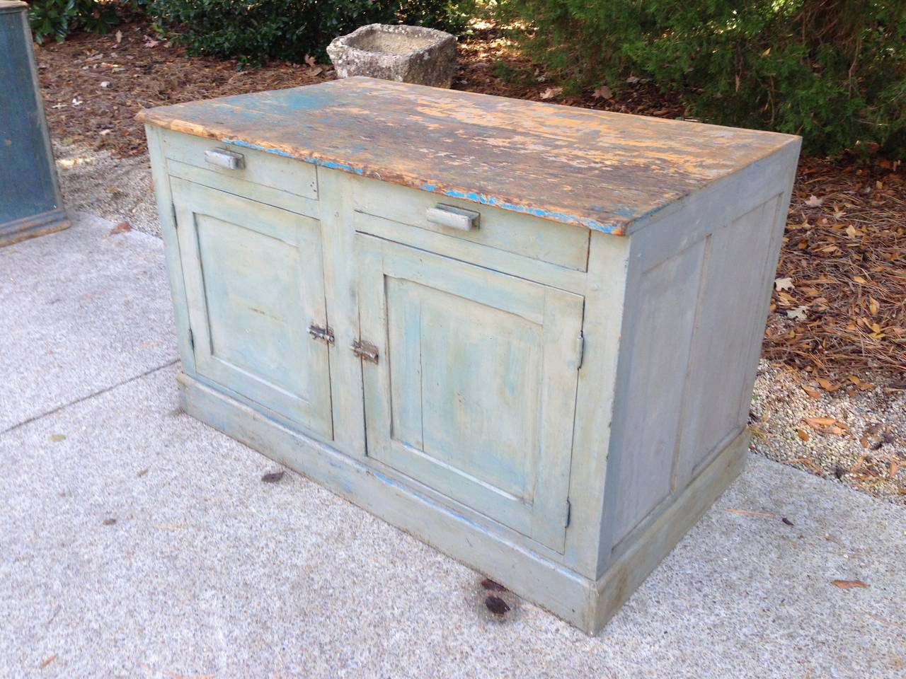 Original Blue painted patina on this French painted cabinet with two drawers, Originally from Provence. Would make a great kitchen island as it is paneled on all four sides