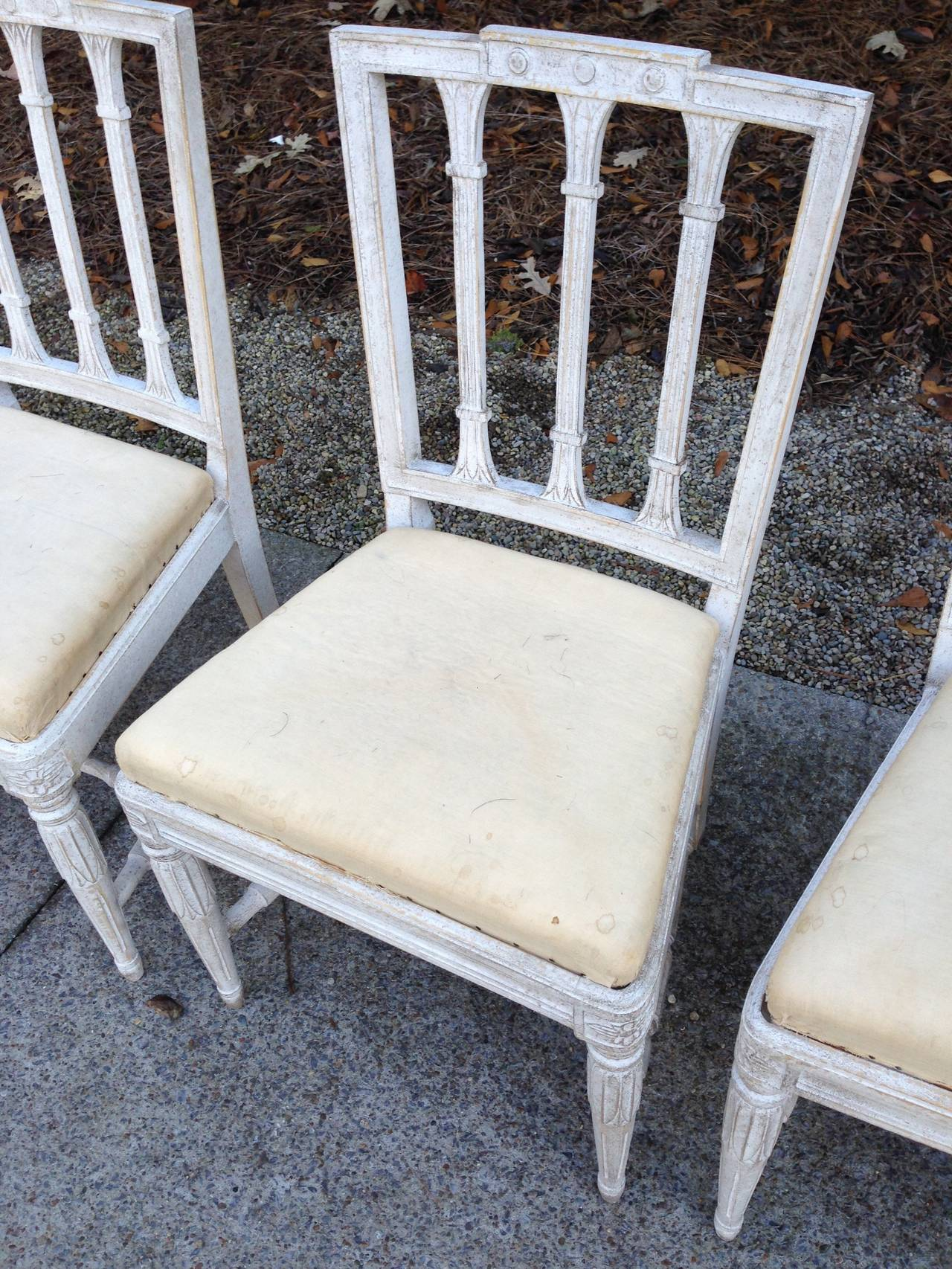 19th Century Set of Six Swedish Gustavian Dining Chairs For Sale