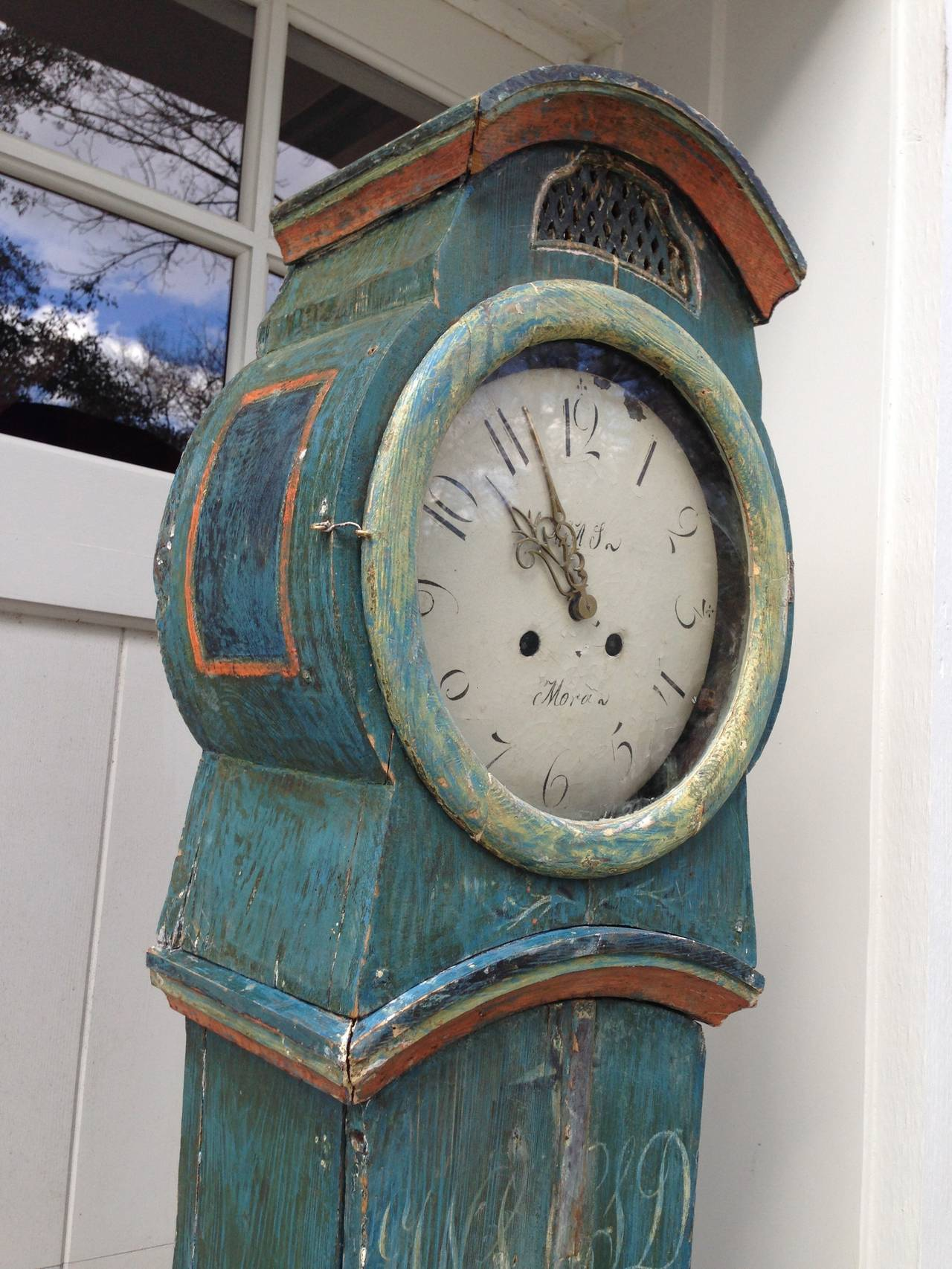 19th Century Swedish Mora Clock with Original Blue Paint For Sale 1