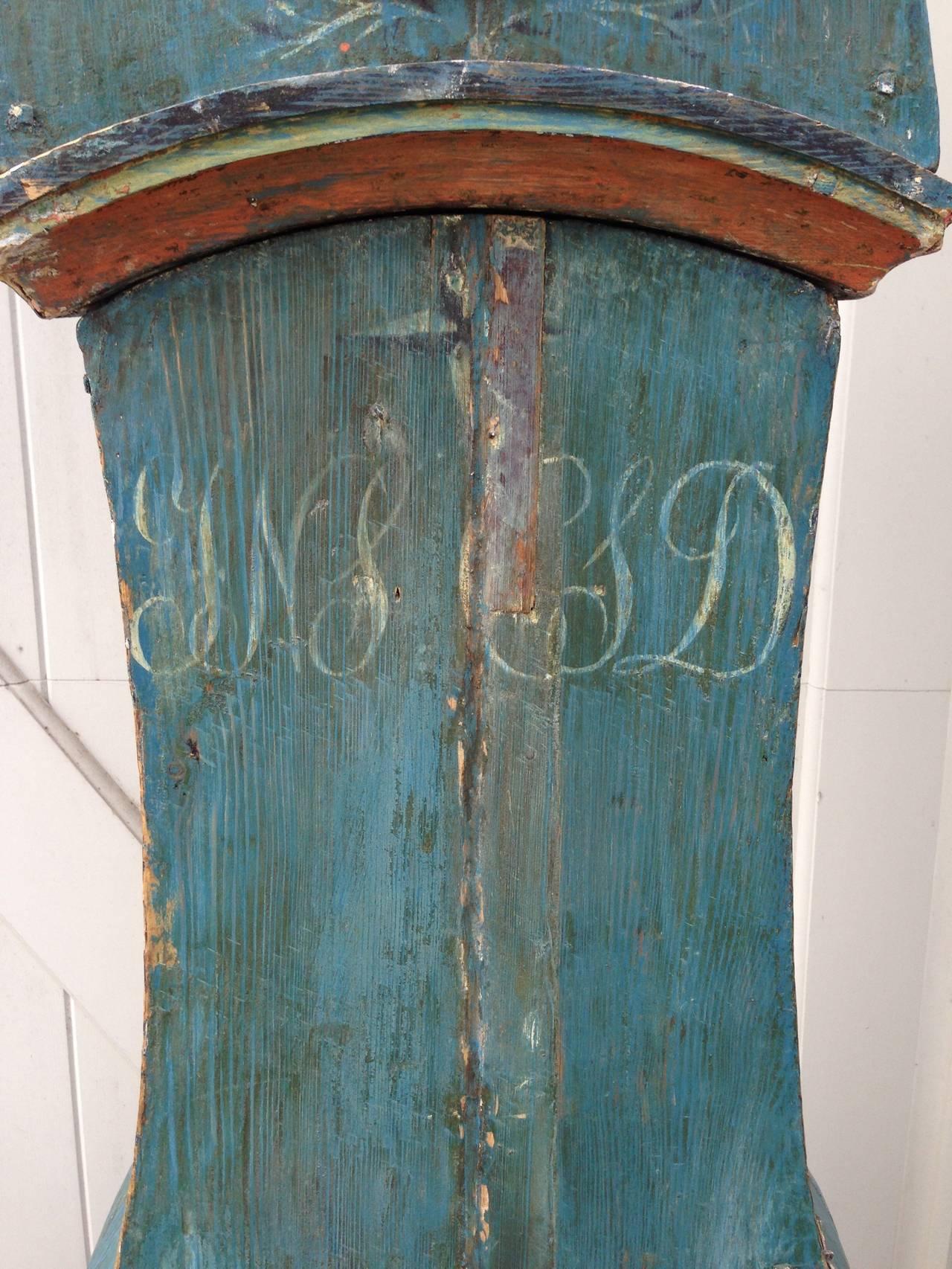 19th Century Swedish Mora Clock with Original Blue Paint 7