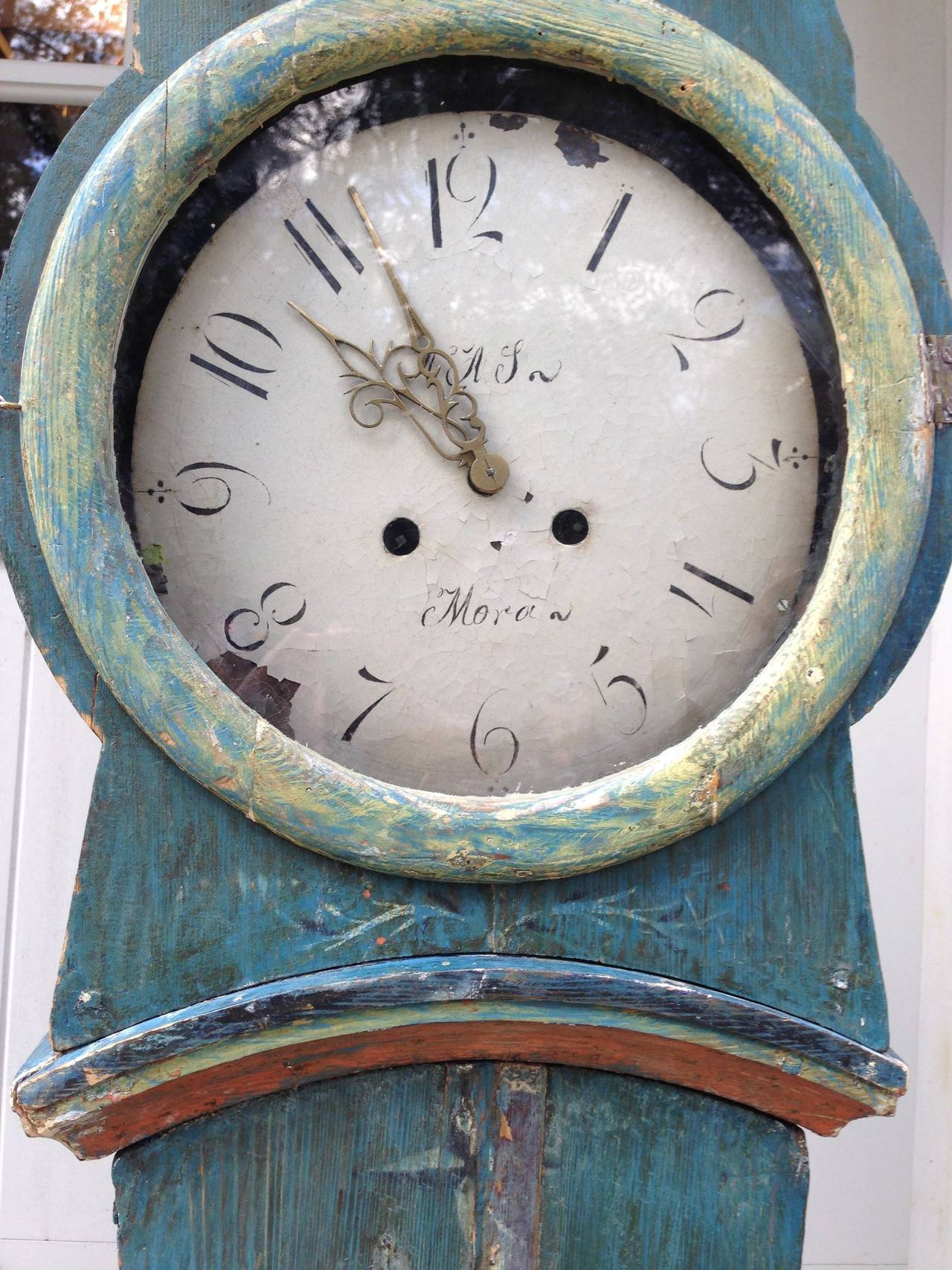 Glass 19th Century Swedish Mora Clock with Original Blue Paint For Sale