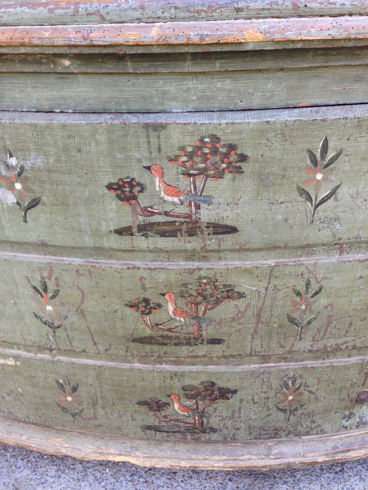 Wood 18th Century Italian Painted Corner Cupboard For Sale