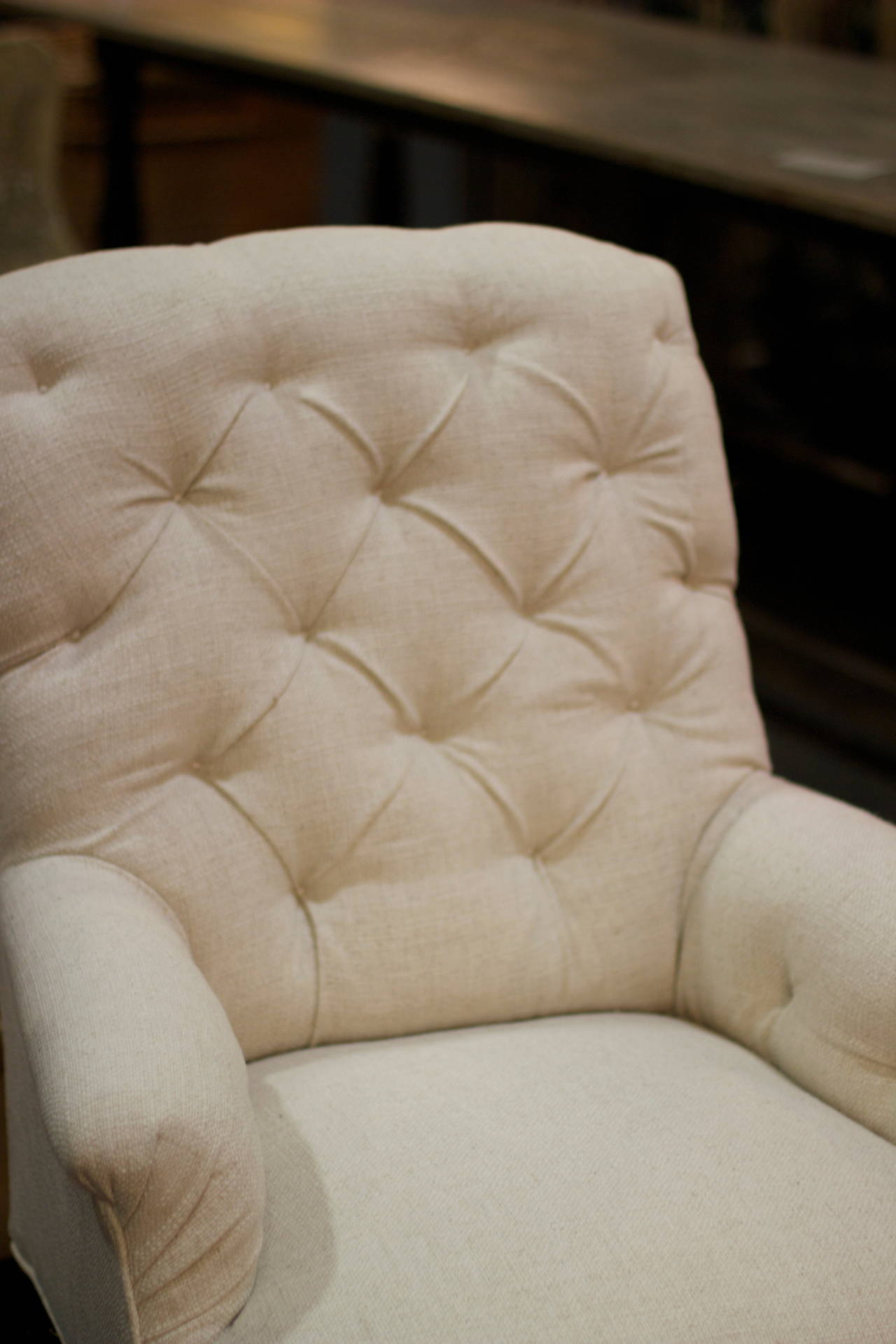 Late 19th Century Pair of 1880s French Tufted Club Chairs For Sale