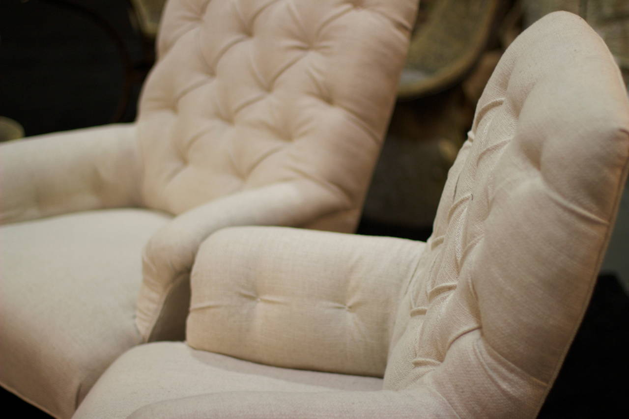 Pair of 1880s French Tufted Club Chairs In Excellent Condition For Sale In Nashville, TN
