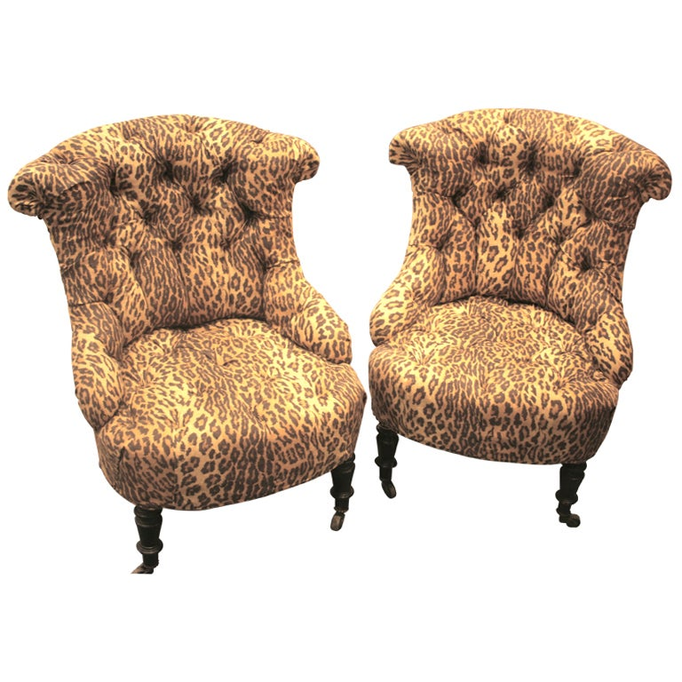 Pair of Napoleon III tufted Salon Chairs For Sale