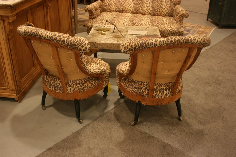 French Pair of Napoleon III tufted Salon Chairs For Sale