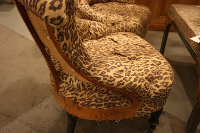19th Century Pair of Napoleon III tufted Salon Chairs For Sale
