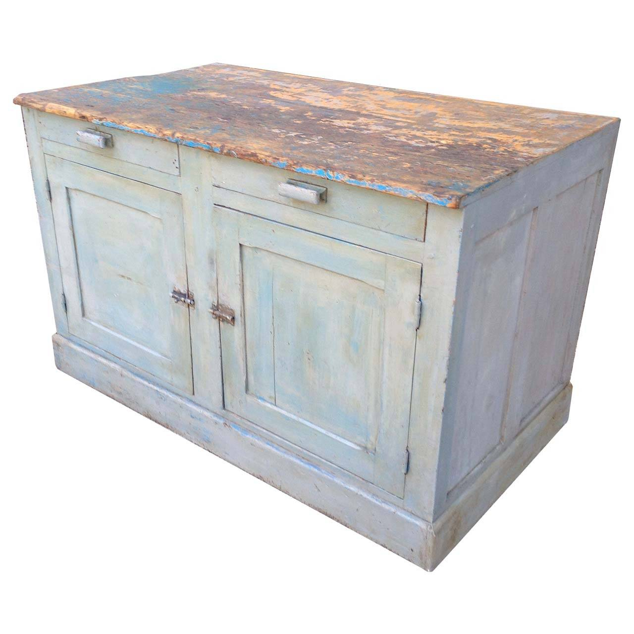 18th Century French Painted Kitchen Cabinet For Sale