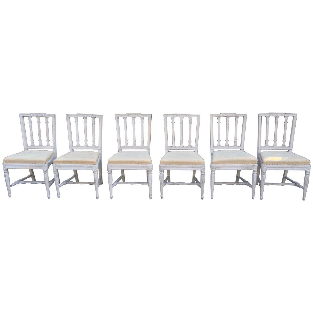 Set of Six Swedish Gustavian Dining Chairs For Sale