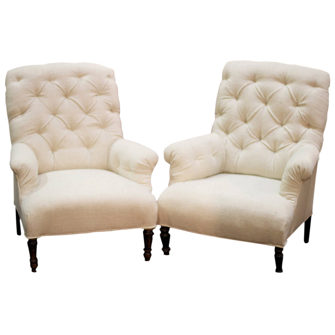 Pair of 1880s French Tufted Club Chairs