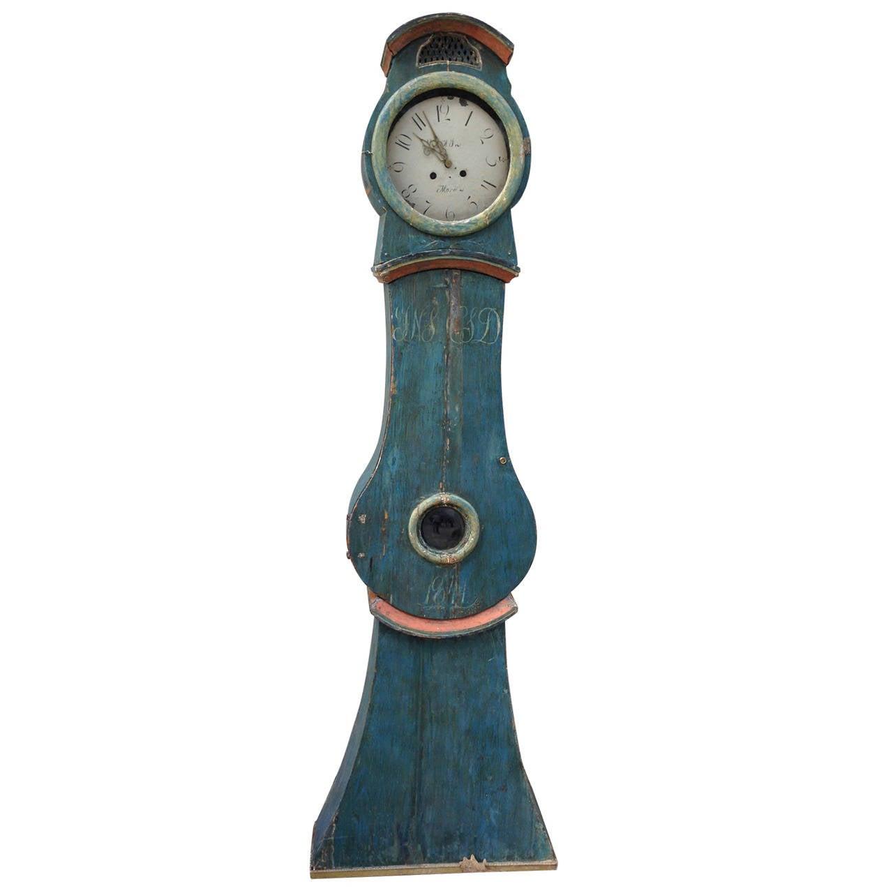 19th Century Swedish Mora Clock with Original Blue Paint 1