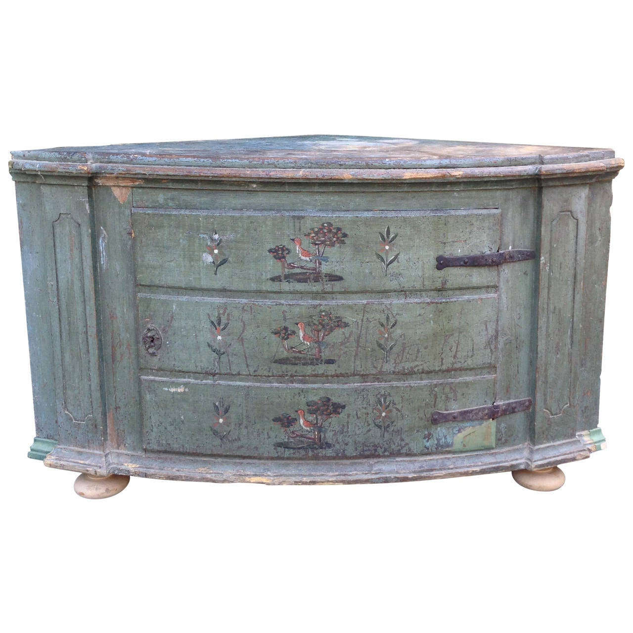 18th Century Italian Painted Corner Cupboard 1