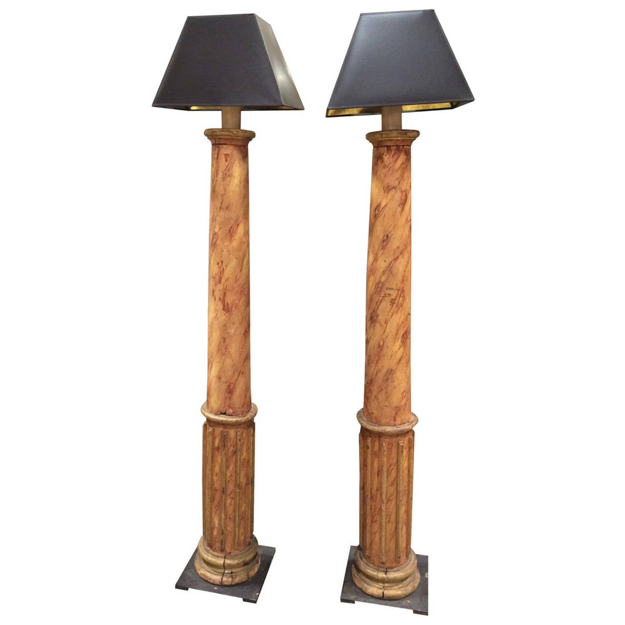 Pair of 19th Century French Faux Marble Column Lamps For Sale