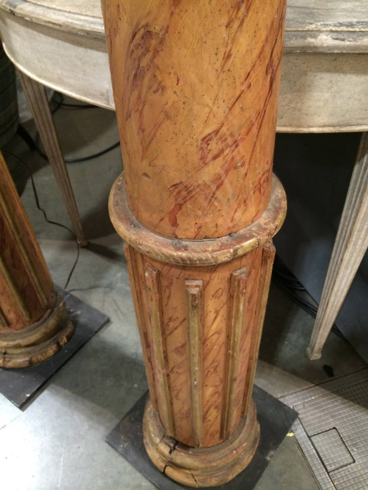 Pair of 19th Century French Faux Marble Column Lamps For Sale 1