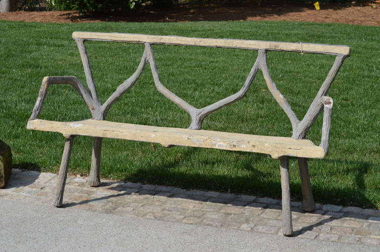 French Faux Bois Bench In Good Condition For Sale In Nashville, TN