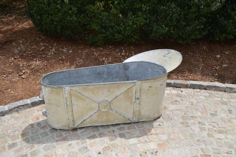 Wonderful 19th c. French Zinc Bathtub with X motif with corked drains.  Would make a fabulous planter.