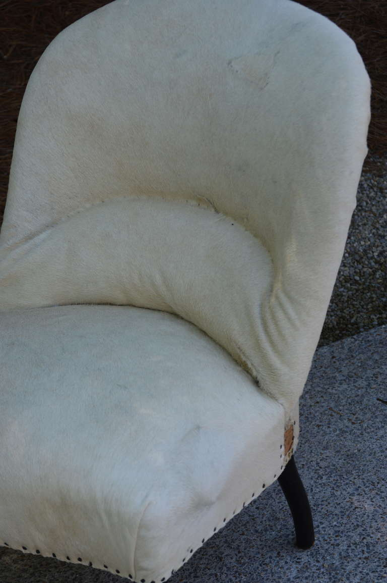 Pair of 19th Century French Salon Chairs with White Hide 3