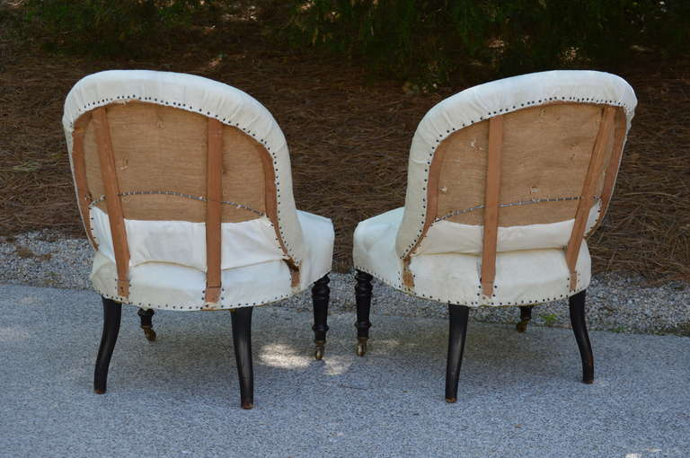 Pair of 19th Century French Salon Chairs with White Hide For Sale 3