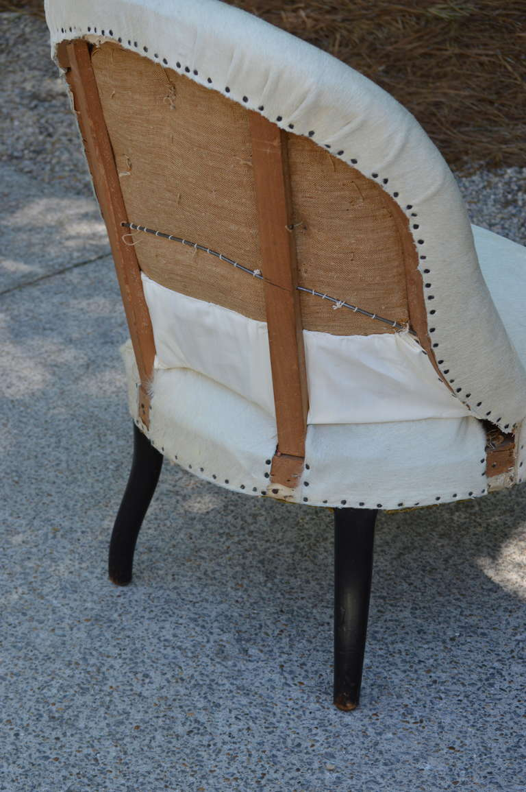Pair of 19th Century French Salon Chairs with White Hide 8