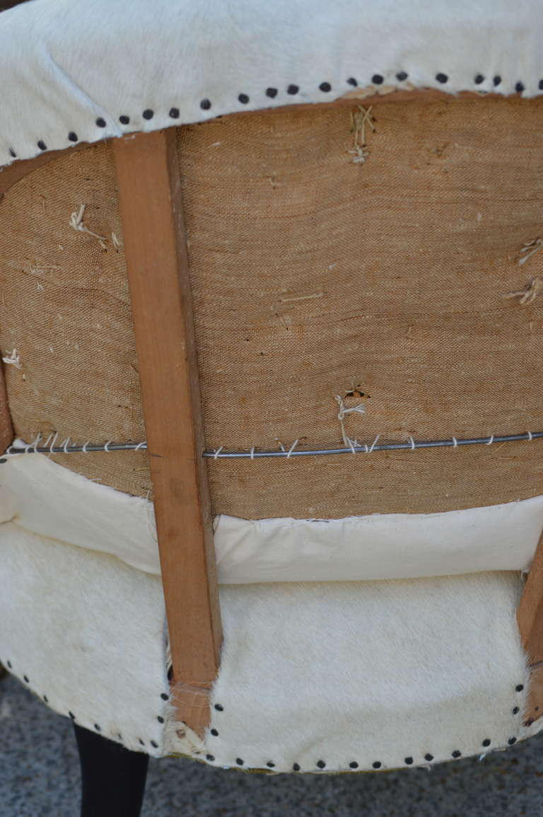 Pair of 19th Century French Salon Chairs with White Hide 10