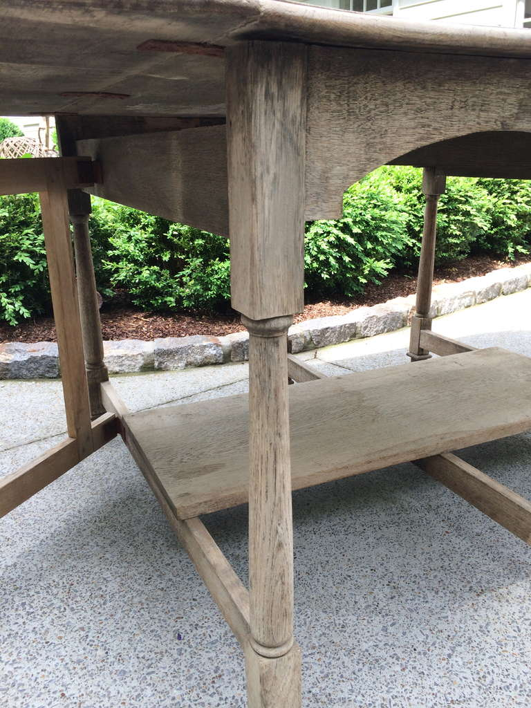 19th Century French Bleached Oak Drop Leaf Gate-Leg Dining Table 8