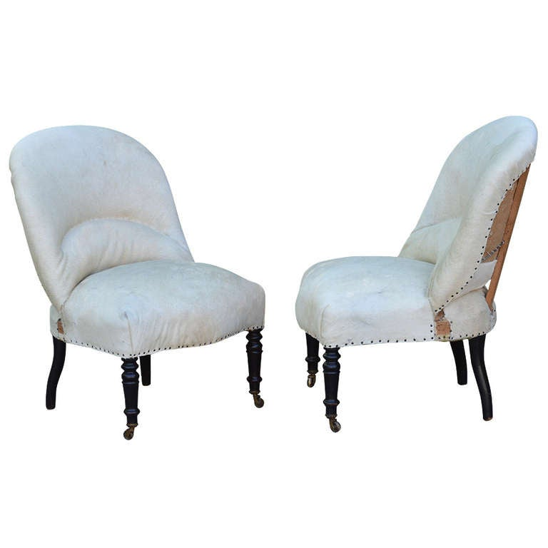 this pair of 19th century french salon chairs with white hide is no