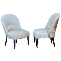 Pair of 19th Century French Salon Chairs with White Hide