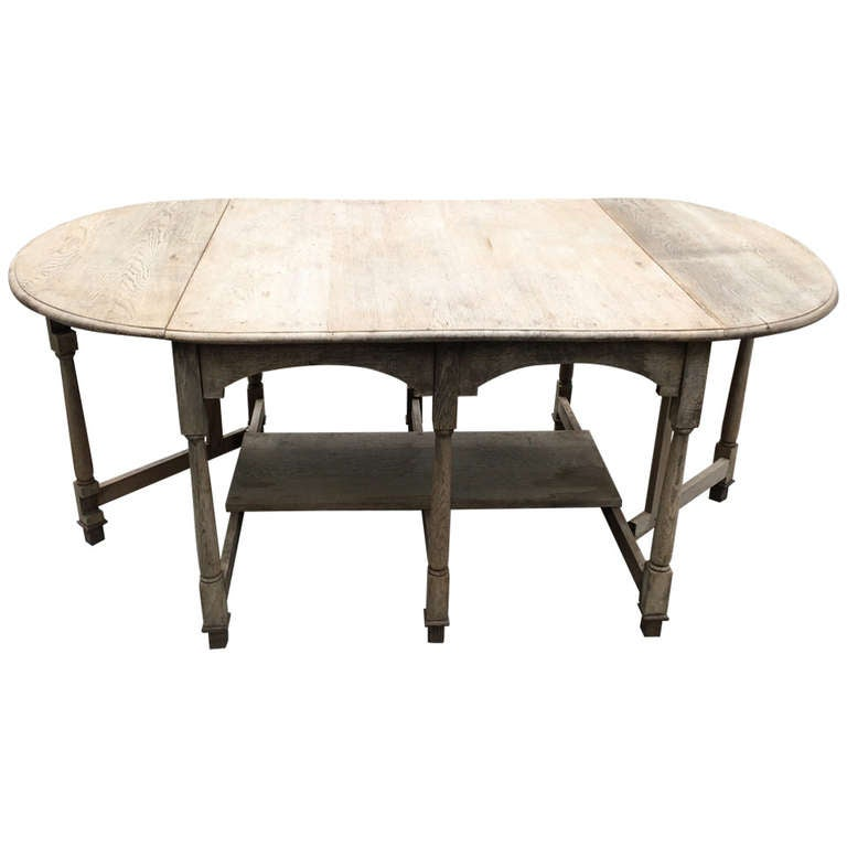 19th Century French Bleached Oak Drop Leaf Gate-Leg Dining Table 1