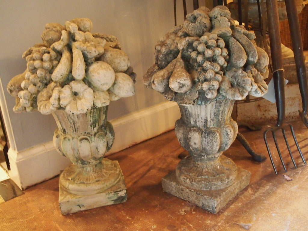 Pair of Weathered Cast Stone Fruit Urns image 2